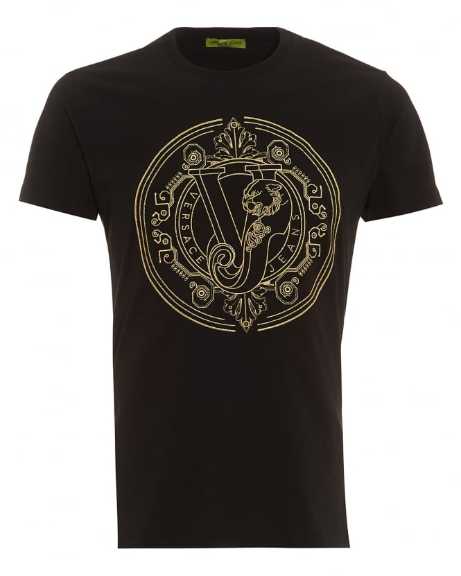 versace jeans mens black digital baroque t shirt regular fit gold emb. Black Bedroom Furniture Sets. Home Design Ideas