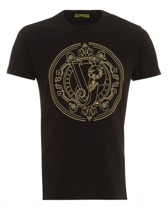 Mens Black Digital Baroque T-Shirt, Regular Fit Gold Embroidered Logo Tee
