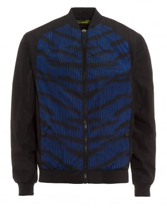 Mens Black Jacket, Blue Animal Print Bomber