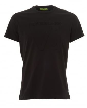 Mens Black Logo T-Shirt, Embossed Cotton Tee