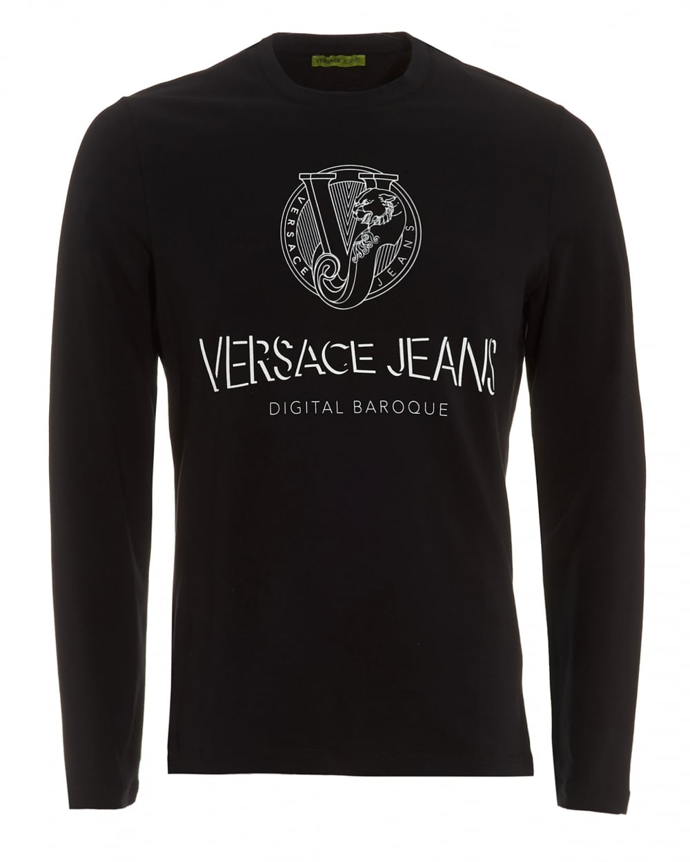 Versace jeans mens black long sleeve t shirt slim fit for Mens slim fit long sleeve t shirts