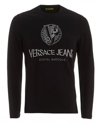 Mens Black Long Sleeve T-Shirt, Slim Fit Digital Baroque Silver Logo Tee
