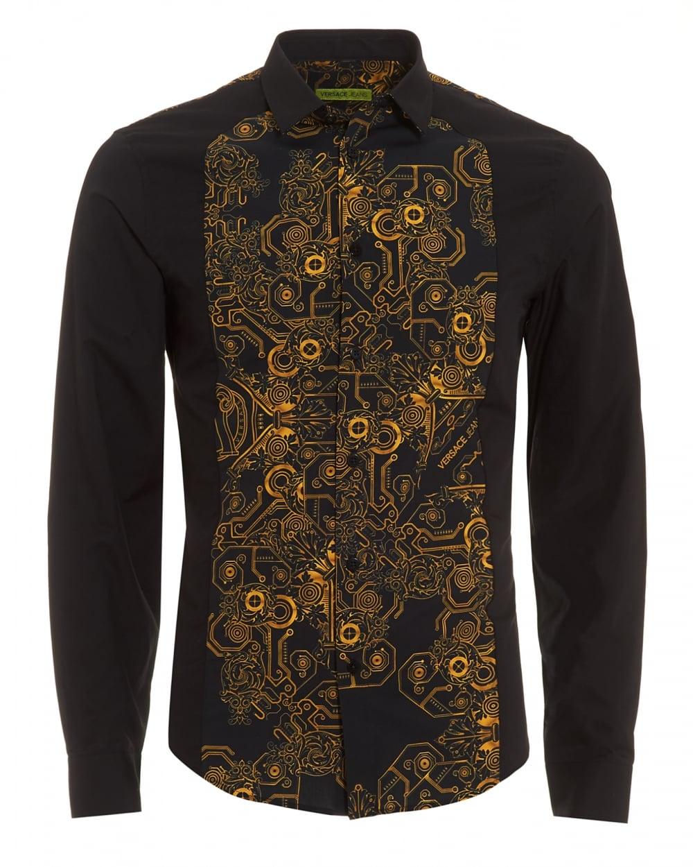 Versace jeans mens black shirt gold digital baroque for Versace style shirt mens