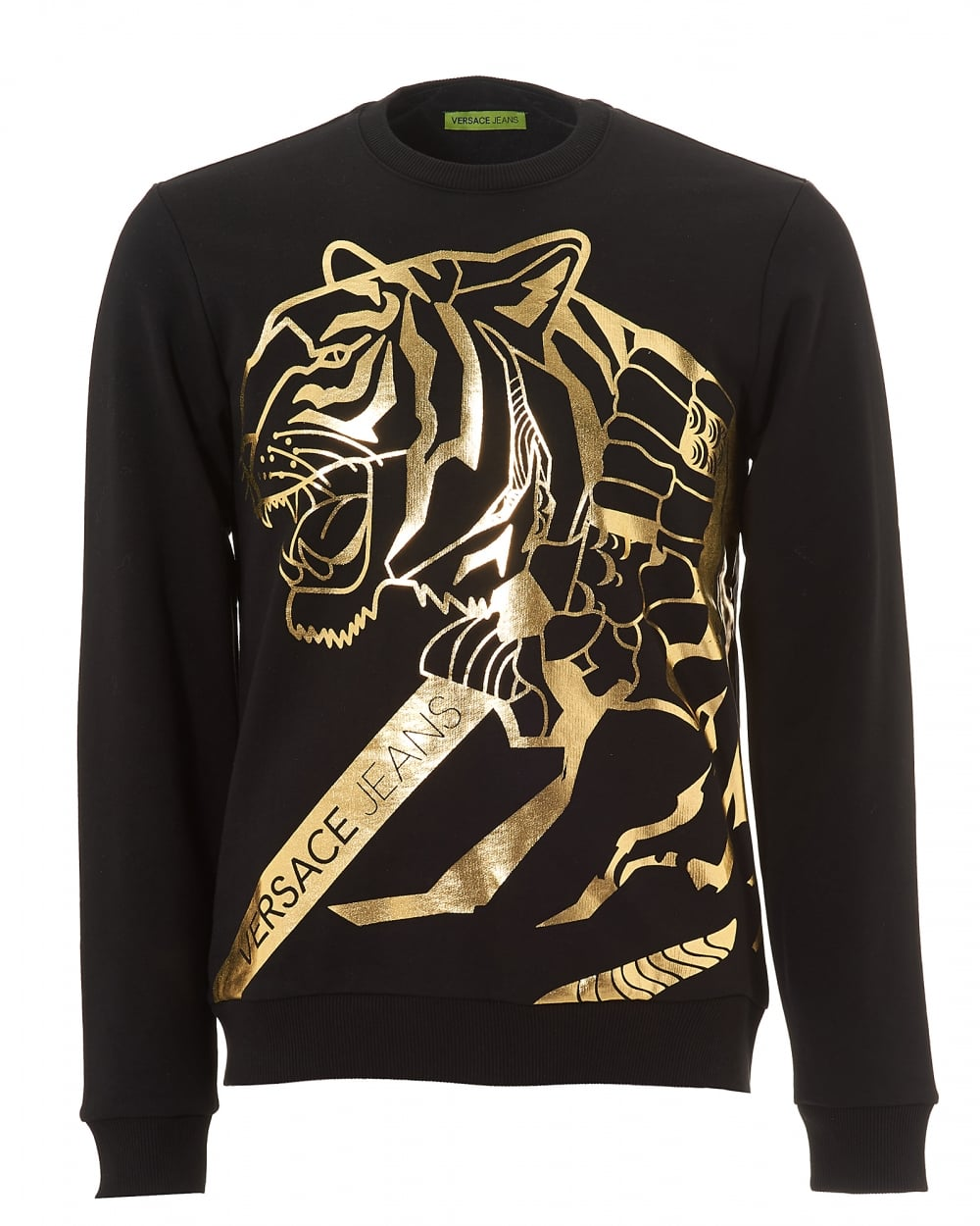 Versace Jeans Mens Black Sweater, Gold Tiger Foil Print Jumper