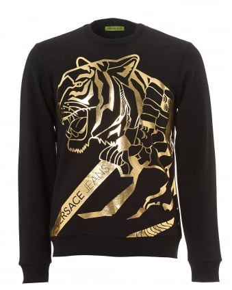 Mens Black Sweater, Gold Tiger Foil Print Jumper