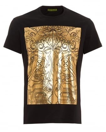 Mens Black T-Shirt, Regular Fit Gold Foil Digital Baroque Tee