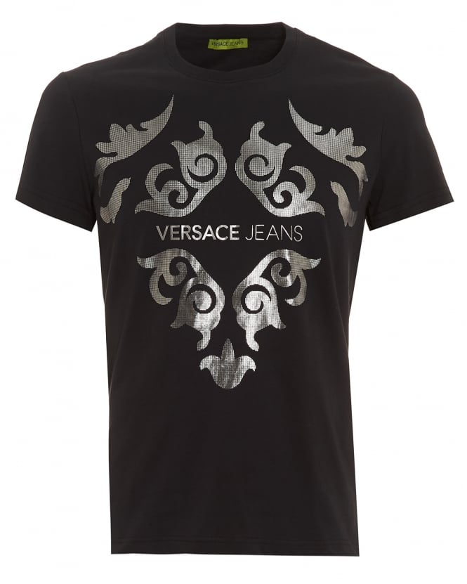 Versace jeans mens black t shirt slim fit silver baroque for Silver jeans t shirts