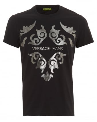 Mens Black T-Shirt, Slim Fit Silver Baroque Logo Tee