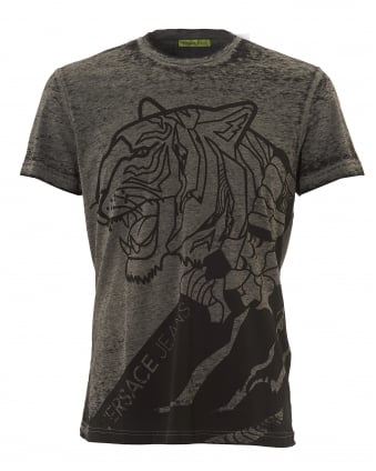 Mens Black Tiger Print T-Shirt, Grey Melange Tee