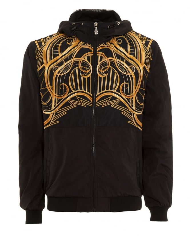 Versace Jeans Mens Bomber, Zip Through Gold Graphic Black Hooded Jacket