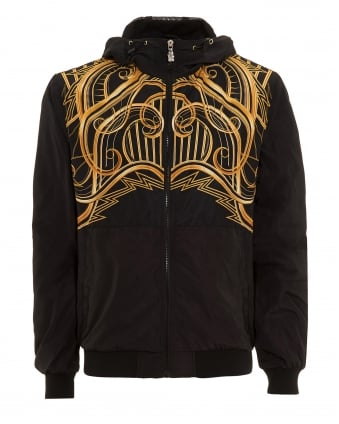 Mens Bomber, Zip Through Gold Graphic Black Hooded Jacket
