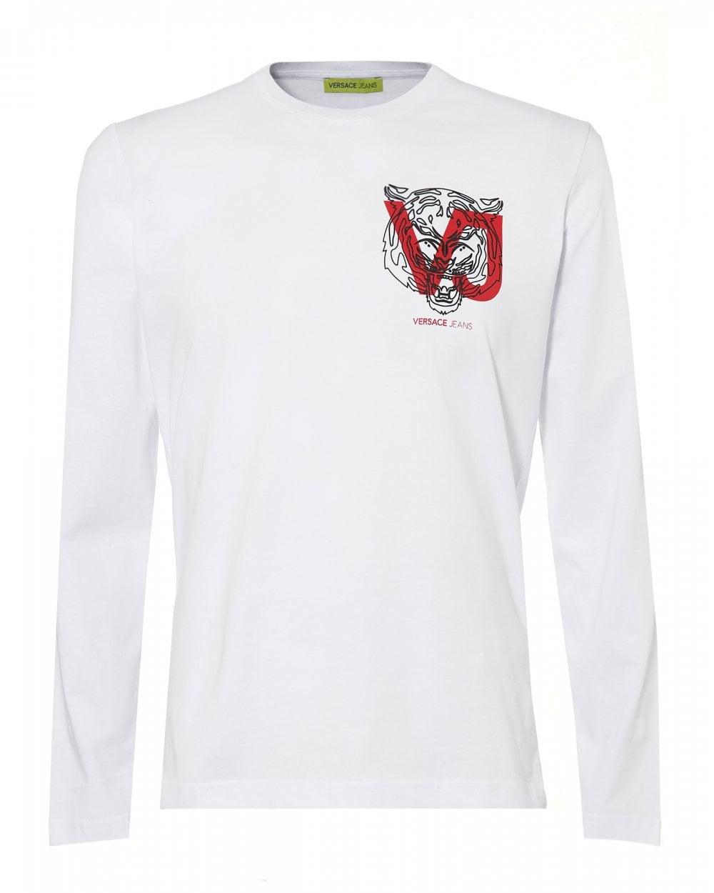 02635e34 Mens Chest Tiger VJ Logo T-Shirt, White Slim Fit Tee