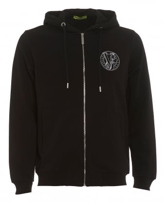 Mens Circular VJ Logo Hoodie, Black Zipped Sweatshirt