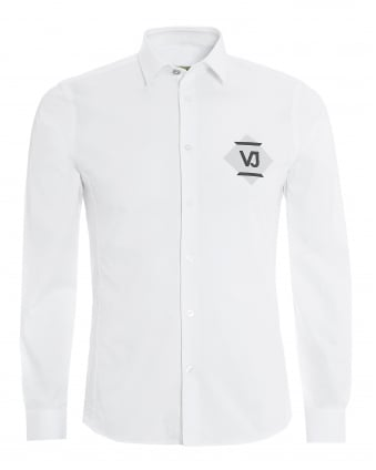 Mens Extra Slim Fit White Diamond Logo Shirt