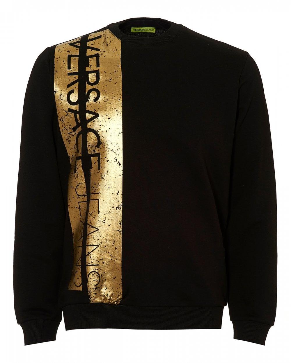 1eb67fad2cd Versace Jeans Mens Foiled Gold Strip Sweatshirt