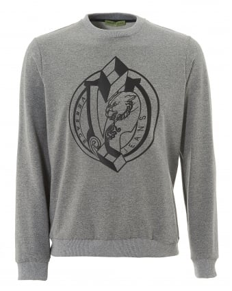 Mens Geometric Print Sweater, Regular Fit Grey Jumper