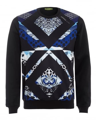 Mens Geopanel Sweatshirt, Slim Fit Black Ornamental Jumper