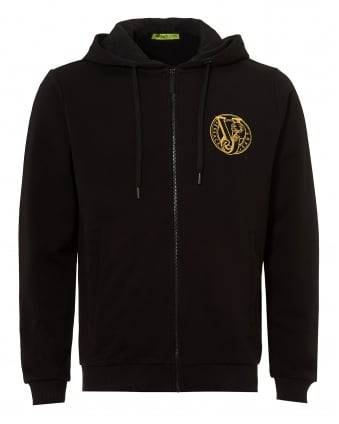Mens Gold Circular VJ Logo Hoodie, Black Zipped Sweatshirt