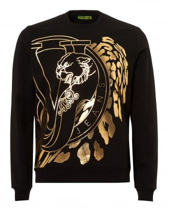 Mens Gold Foil VJ Logo Sweatshirt, Slim Fit Black Jumper