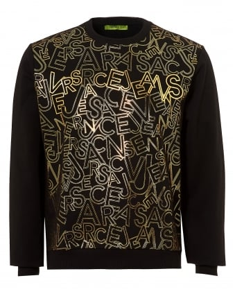 Mens Gold Letter Print Sweatshirt, Regular Fit Black Jumper