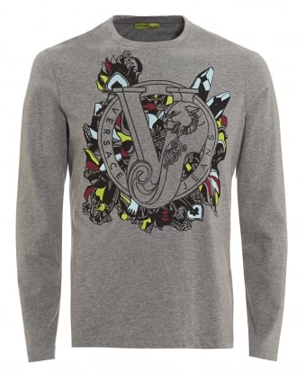 Mens Grey T-Shirt, Long Sleeve Coloured Baroque Logo Tee