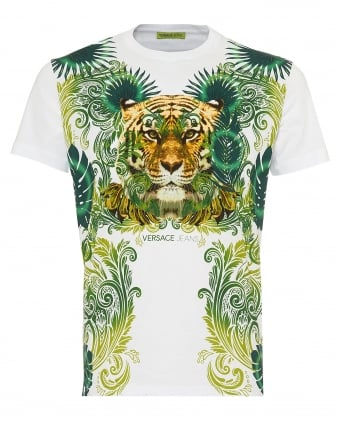 Mens Jungle Tiger Print T-Shirt, Slim Fit White Tee