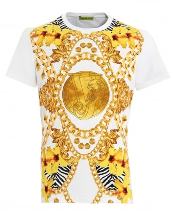 Mens Large Chain T-Shirt, Slim Fit White Tee