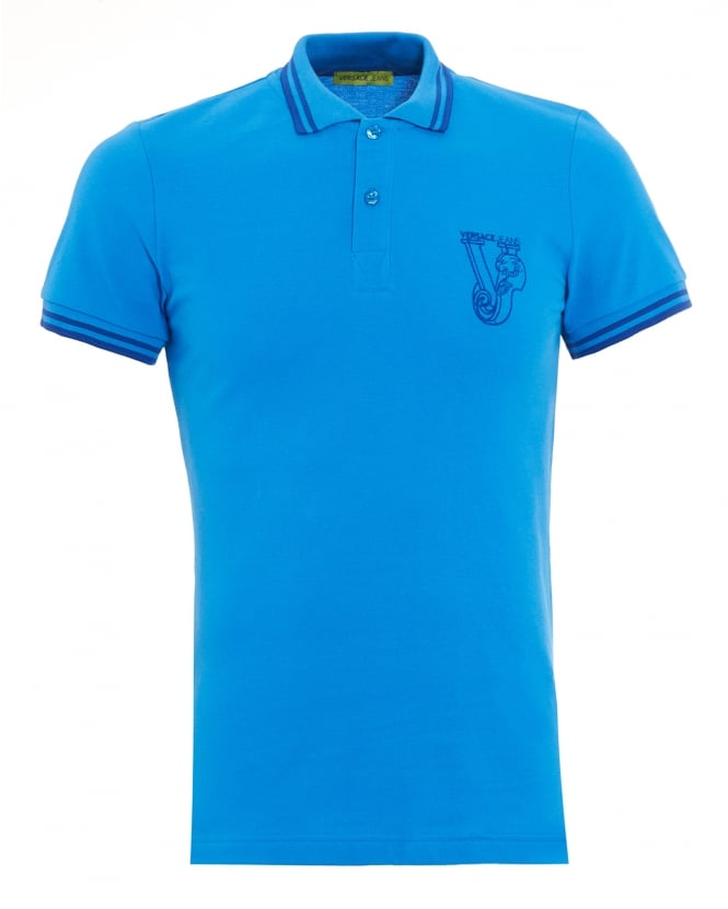 Versace Jeans Mens Large Logo Tipped Cobalt Blue Polo Shirt