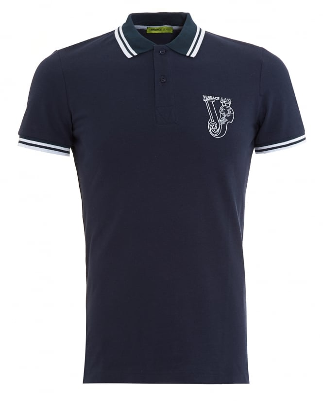 Versace Jeans Mens Large Logo Tipped Navy Polo Shirt