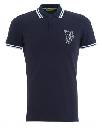 Mens Large Logo Tipped Navy Polo Shirt