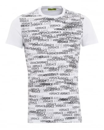 Mens Logo Front Prints White T-Shirt