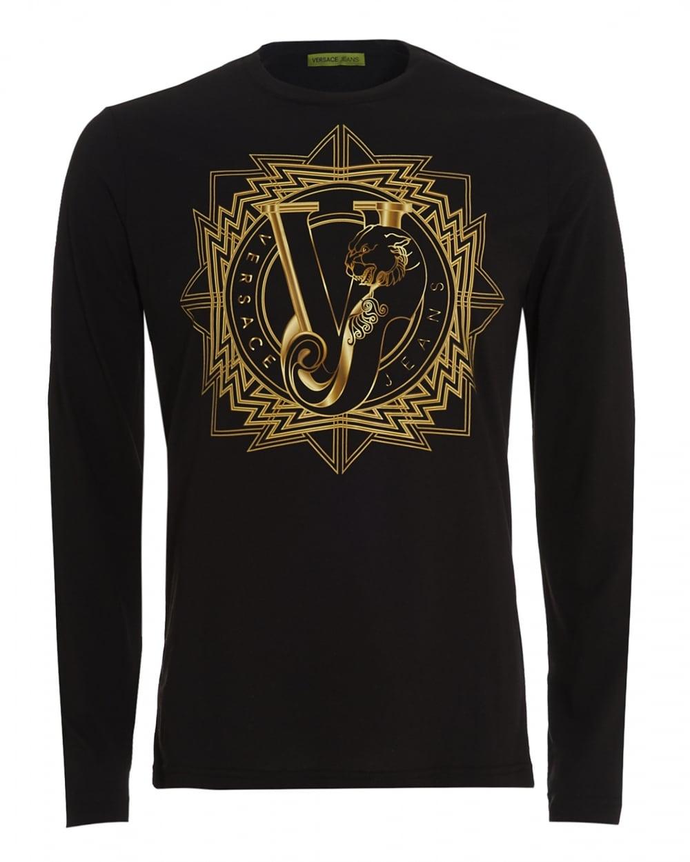 270ce7b3f45bc Versace Jeans Mens Long Sleeve T-Shirt Black Tiger VJ Logo Slim Fit