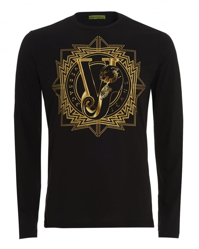 Versace Jeans Mens Long Sleeve T-Shirt Black Tiger VJ Logo Slim Fit
