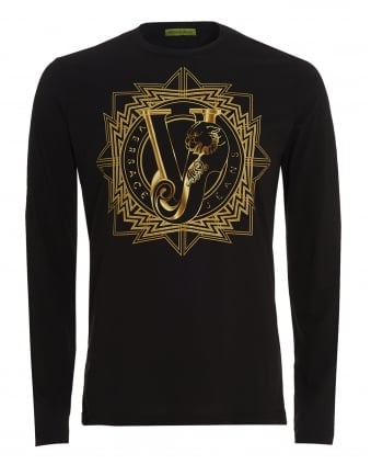 Mens Long Sleeve T-Shirt Black Tiger VJ Logo Slim Fit