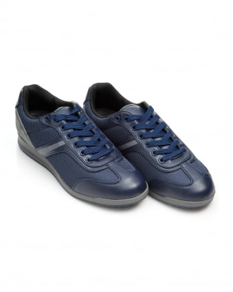Mens Mesh and Suede Trainers, Navy Blue Sneakers