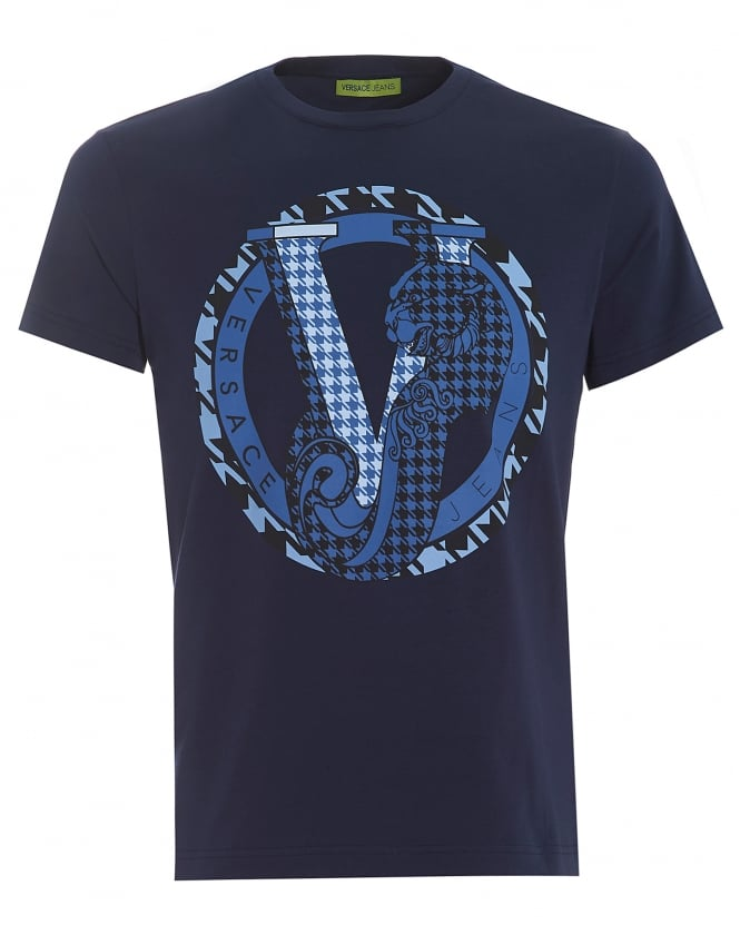 Versace Jeans Mens Navy T-Shirt, Regular Fit Circular Panther Logo Tee