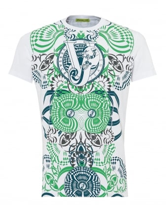 Mens Optical Print T-Shirt, Slim Fit White Green Tee