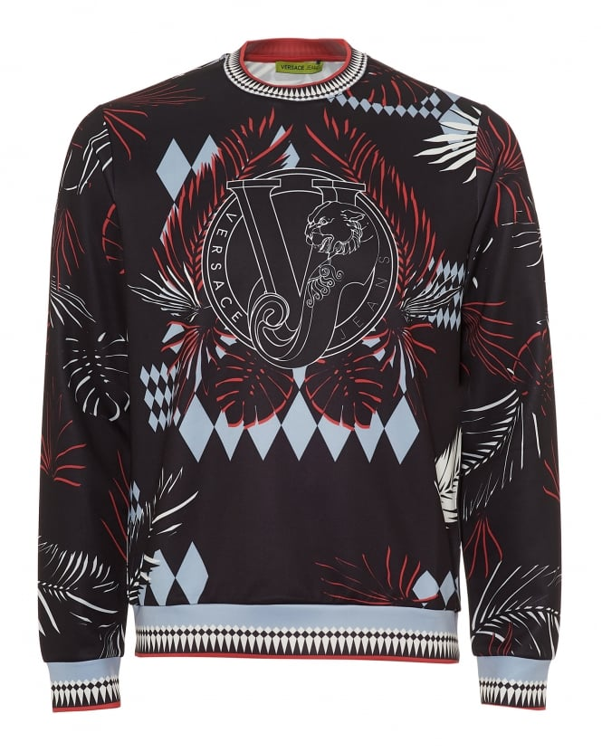 Versace Jeans Mens Palm Tree Print Sweatshirt, Neoprene Black Sweat