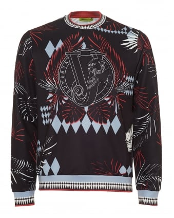 Mens Palm Tree Print Sweatshirt, Neoprene Black Sweat