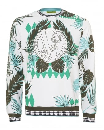 Mens Palm Tree Print Sweatshirt, Neoprene White Sweat