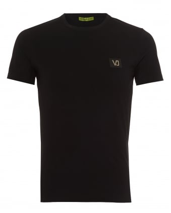 Mens Plain T-Shirt, Small Chest Logo Patch Black Tee