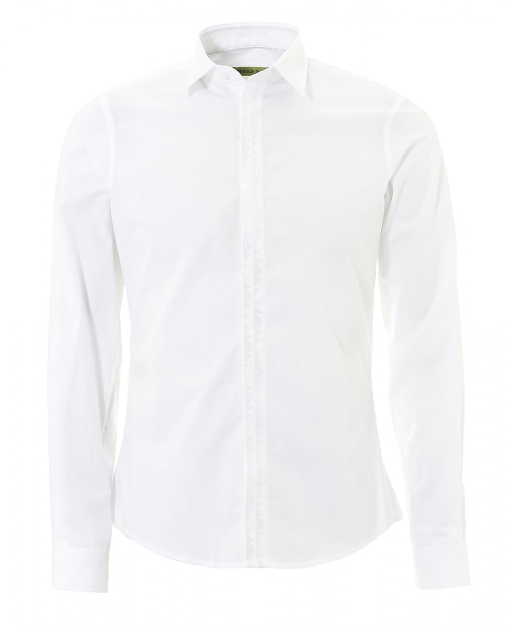 Versace Jeans Mens Plain White Tonal Long Sleeve Collared Shirt fdefffb180a