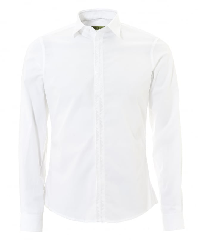 Versace Jeans Mens Plain White Tonal Long Sleeve Collared Shirt