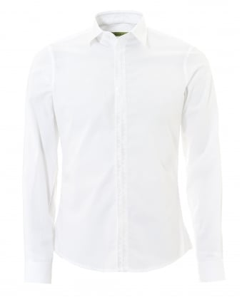 Mens Plain White Tonal Long Sleeve Collared Shirt