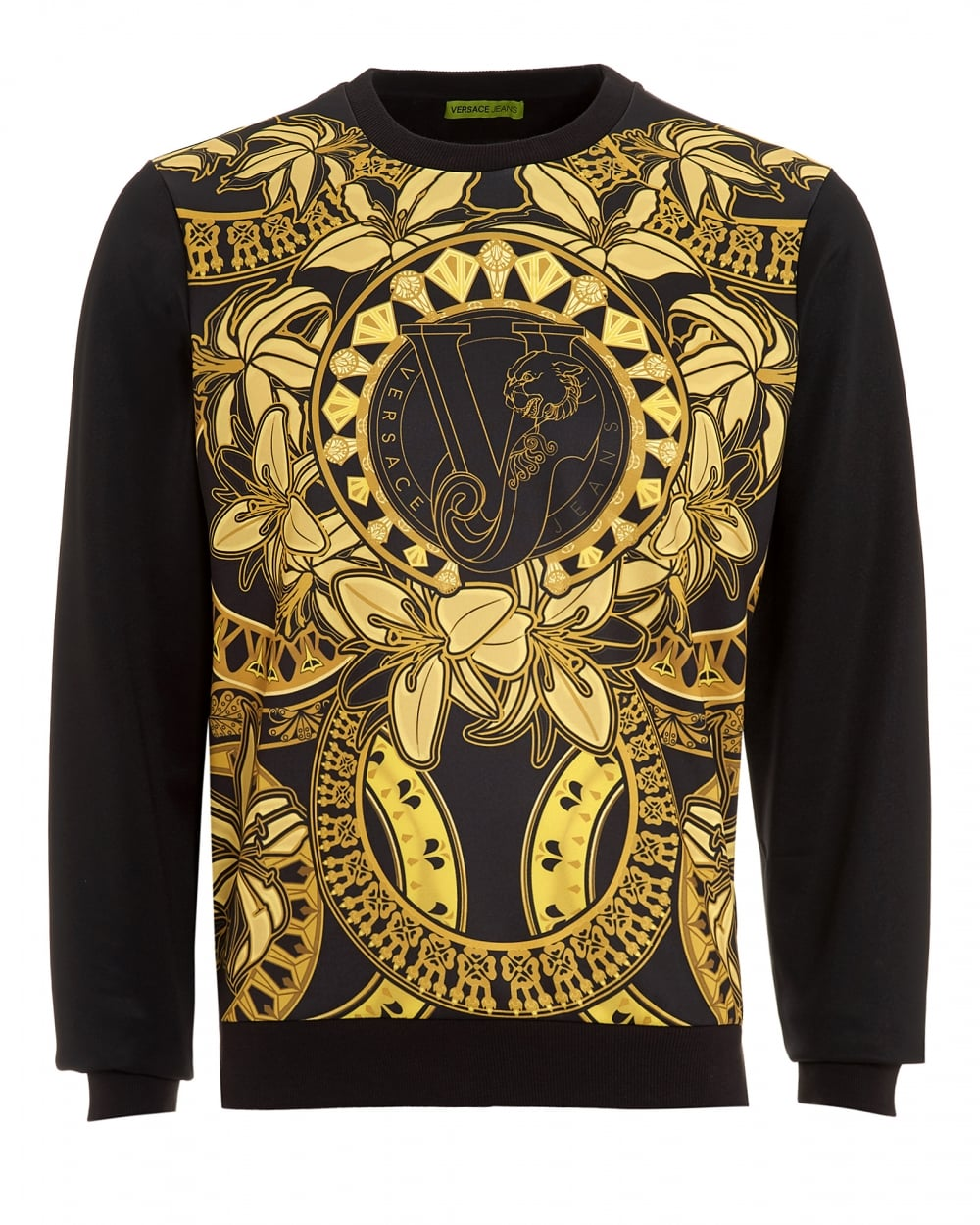 versace jeans mens printed sweatshirt slim fit gold print black sweat. Black Bedroom Furniture Sets. Home Design Ideas