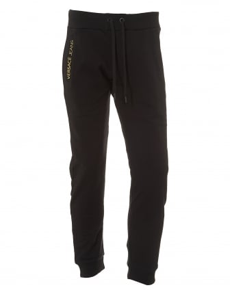 Mens Rear Logo Trackpant, Black Logo Sweatpants
