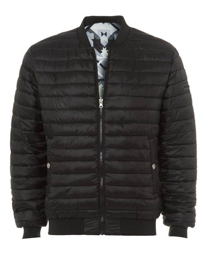 Versace Jeans Mens Reversible Bomber Jacket, Black/Silver Geometric Puffa Coat