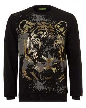 Mens Rubberised Gold Tiger Print Sweatshirt, Slim Fit Black Jumper