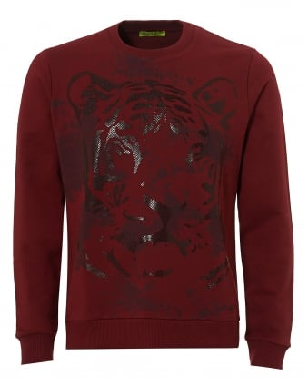 Mens Rubberised Grey Tiger Print Sweatshirt, Slim Fit Red Jumper