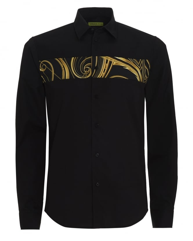 Versace Jeans Mens Shirt, Black Decco Gold Print Strip Regular Fit Shirt